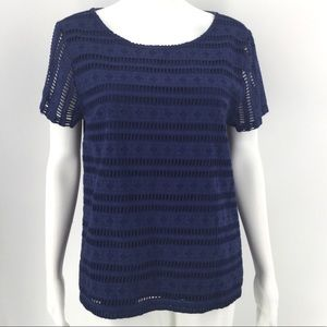 VINEYARD VINES Top M Navy Blue Lace Overlay Tee